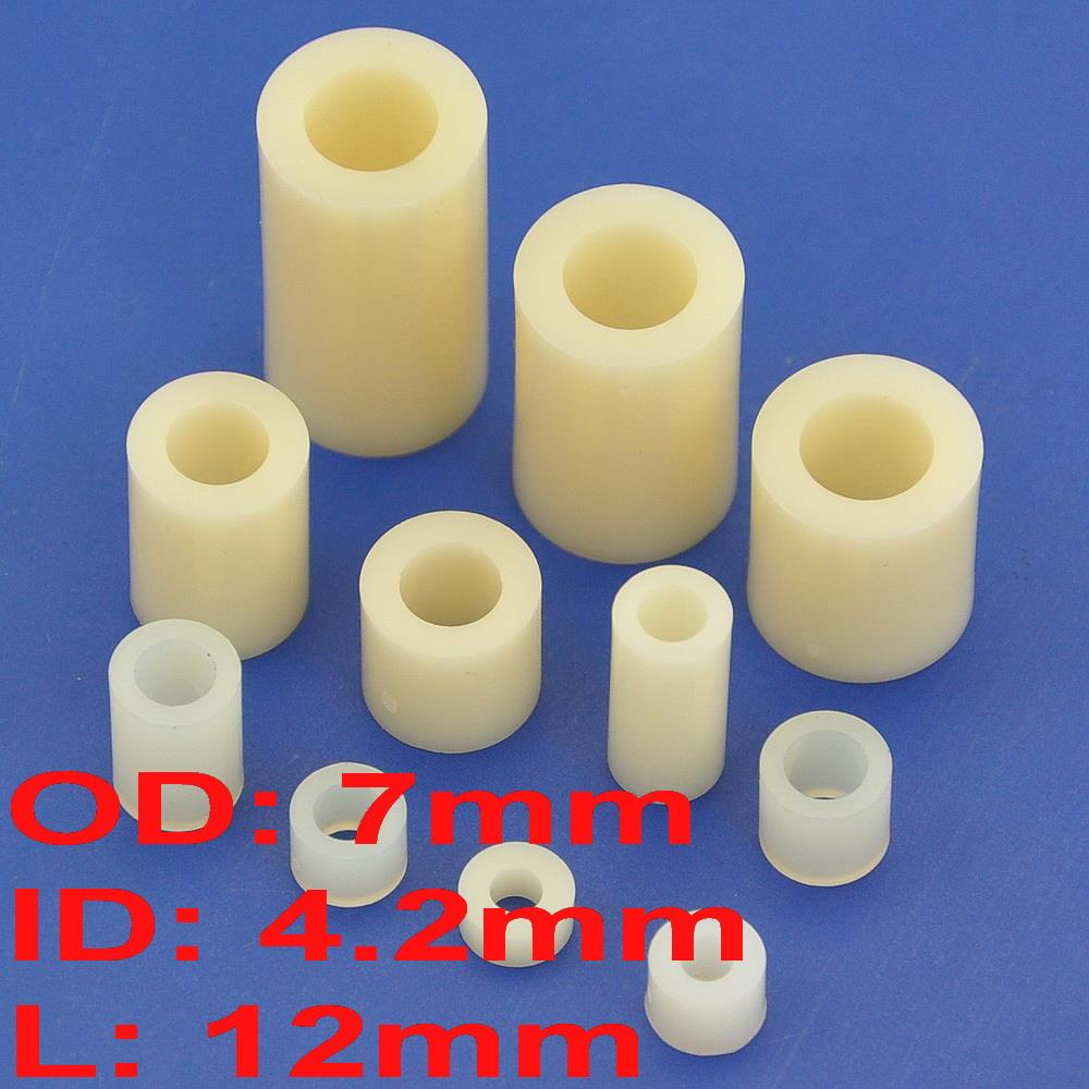 1000 pcs lot 12mm Nylon Round Spacer OD 7mm ID 4 2mm for M4 Screw