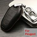 2105 nuevo llega la alta calidad llave del coche del cuero del bolso del caso para Peugeot 308 S 408 2008 3008 301 508 caja dominante del coche del sostenedor + Key Holder modificar