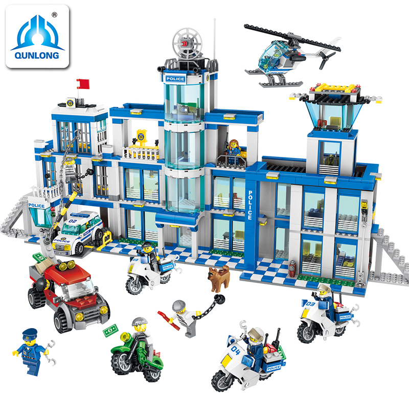 1397pcs City Police Series Police Station Set Assembled DIY Model Kids Toys Building Blocks Bricks Kids Compatible Legoe gift 111pcs children blocks toys police series helicopter blocks toys assembled model building kits educational diy toys for kids