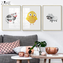 Nordic Poster Cartoon Sheep Duck Chick Cow Wall Art Canvas Painting Posters And Prints Wall Pictures Kids Room Quadro Wall Decor alexander gordon the history of peter the great emperor of russia to which is prefixed a