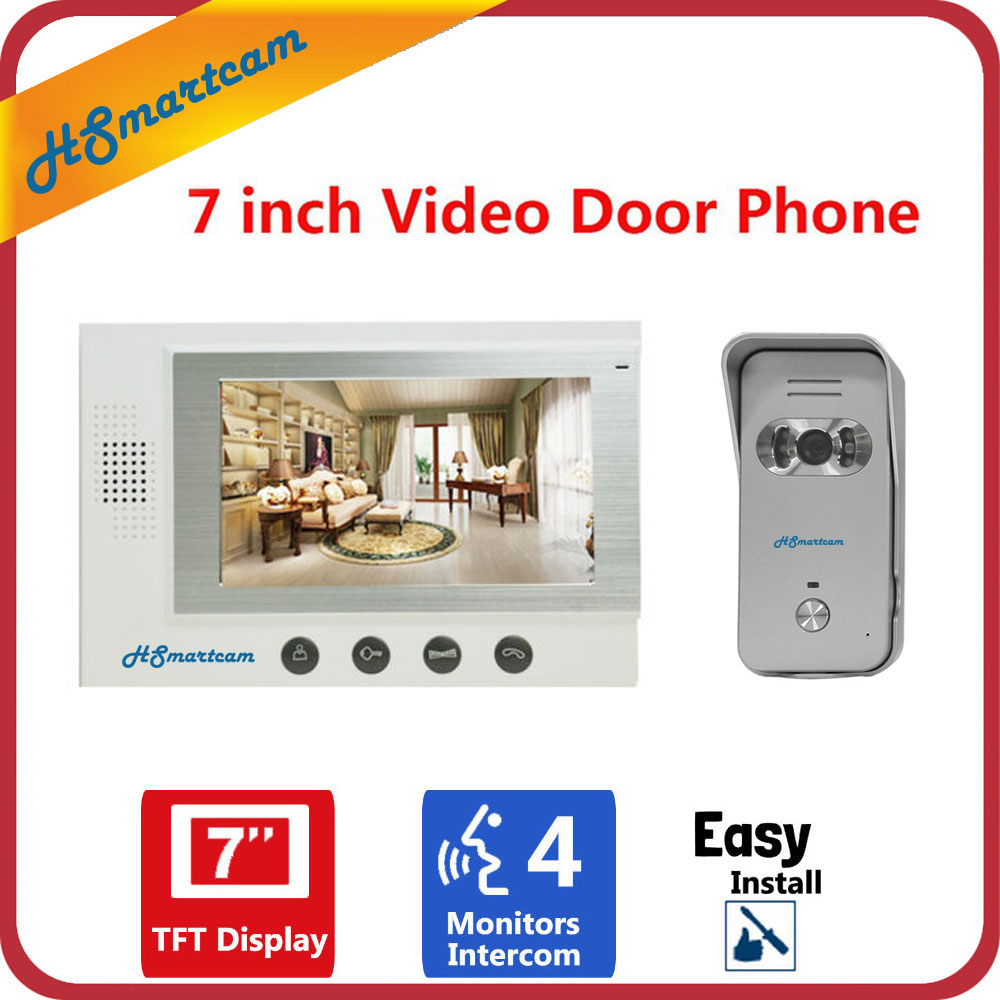 7 inch Video Doorbell System Door Intercom Phone Night Vision Outdoor Camera Weatherproof add Indoor Monitor 7 inch monitor video door phone intercom doorbell kits 1v6 video doorbell doorphone intercom system night vision alloy camera