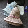Nuevo Sombrero de Sol de Moda del Verano de Las Mujeres Plegables Sombreros de Paja Para Las Mujeres Beach Headwear 4 Colores de Calidad Superior Al Por Mayor