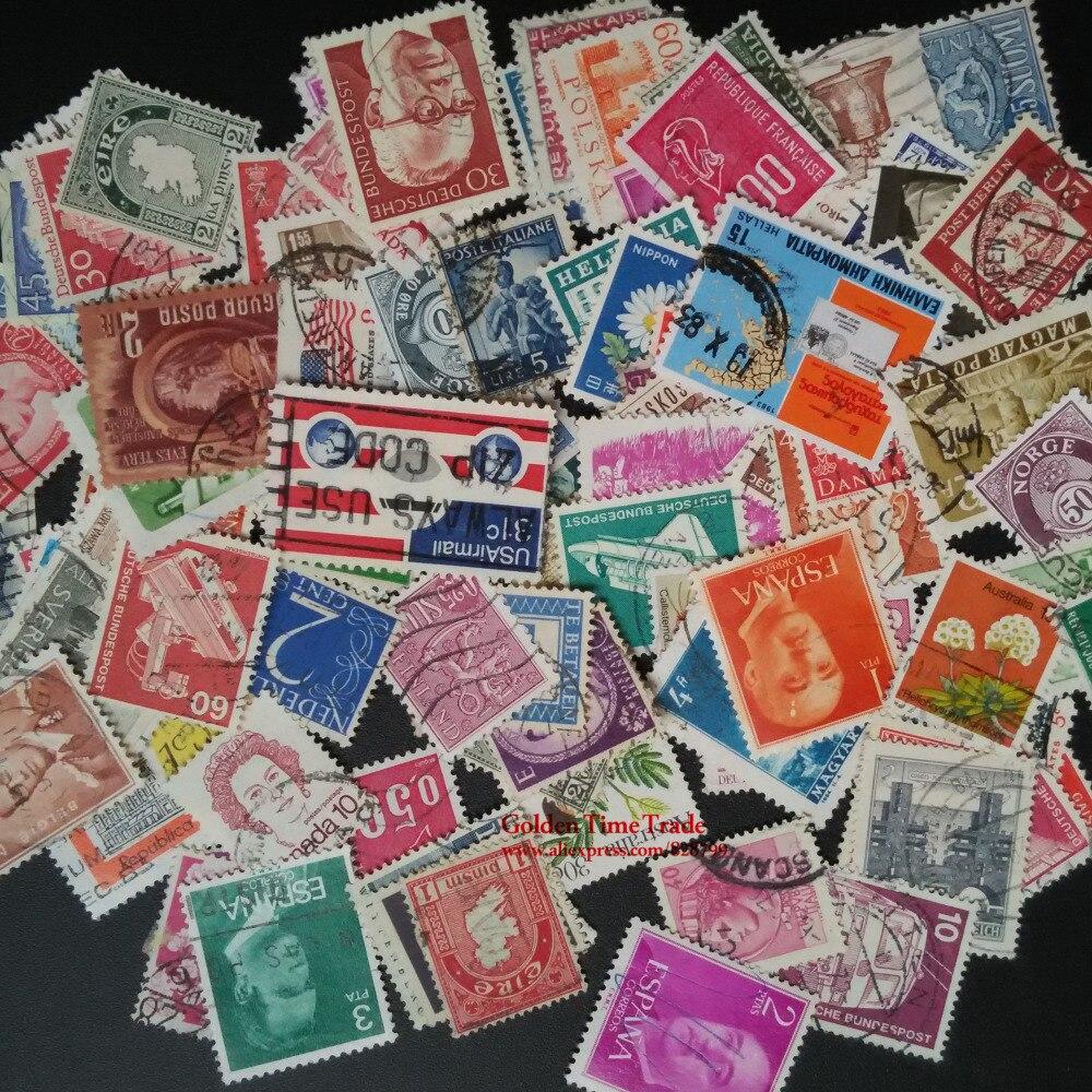 Image 4 - 100 pçs/lote todos os diferentes antigos/vintage selos postais  marca com pós marca, sem repetição timbres selospostage stampsstamp  brandsvintage postage stamps