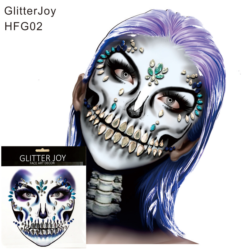 Makeup Hfg02 1pc Skull Makeup Inspired Party Face Gem Sticker Body Paint Decor For Christmas Present Holiday Gift To Help Digest Greasy Food