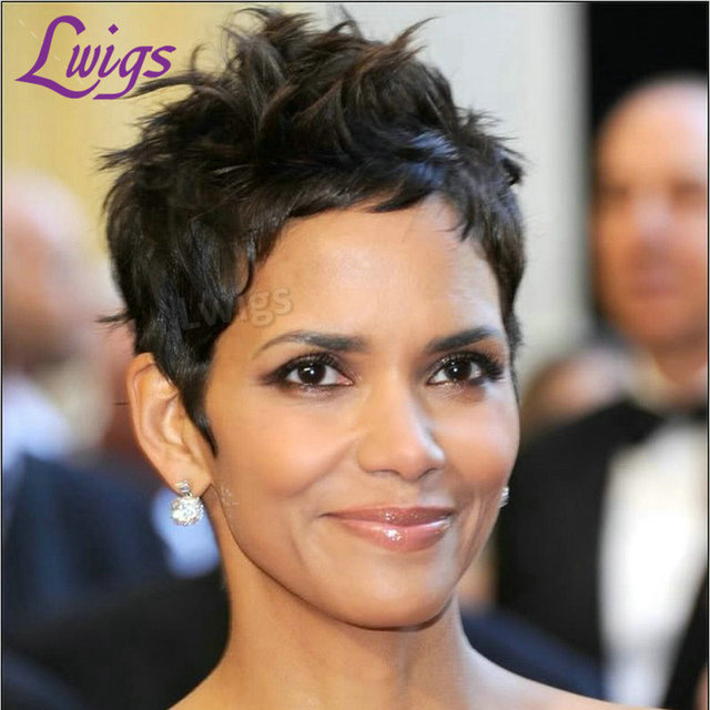 Halle Berry Wigs Brazilian Natural Short Black Hairstyle Wigs