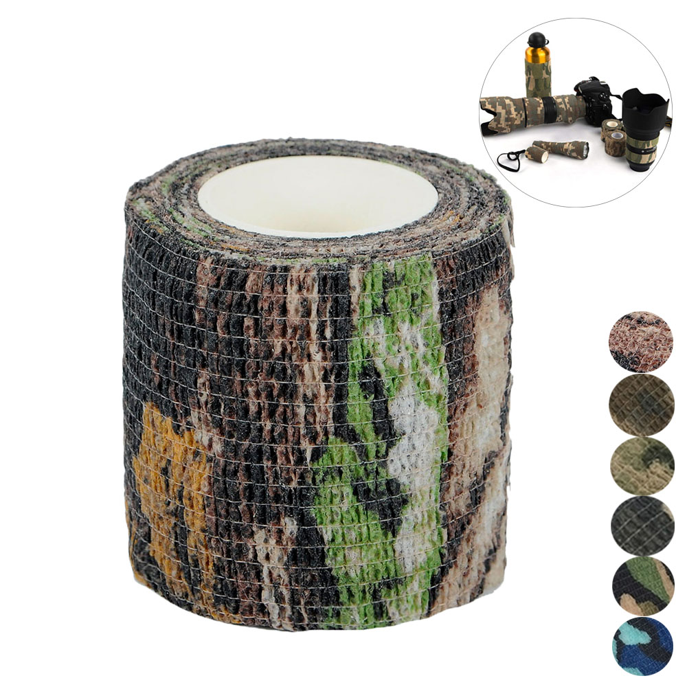 Military Camouflage Tape Army Camo Stretch Bandage 5CM*4.5M Waterproof Wrap Durable Hunting Camouflage Stealth Tape Outdoor Tool