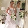 Lace Mermaid Deep V Neck Cap Sleeves Mermaid Long Wedding Dresses 2016 Sexy See Through Back Floor Length Wedding Dress SML30306