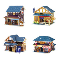 Bốn Phong Cách Bằng Gỗ 3D Nhật Bản House Puzzle Gỗ DIY Dollhouse Xây Dựng Mô Hình Kits cho Trẻ Em Học & Đồ Chơi Giáo Dục Quà Tặng