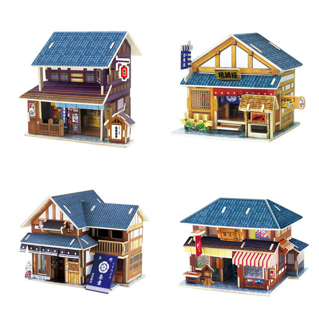 Four Styles 3D Wooden Japan House Puzzle Wood DIY Dollhouse Building Model Kits for Children Learning & Educational Toys Gifts