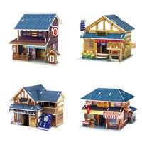 Quattro Stili 3D In Legno Giappone Casa Di Puzzle In Legno FAI DA TE Casa Delle Bambole Building Model Kit per I Bambini L'apprendimento e Giocattoli Educativi Regali