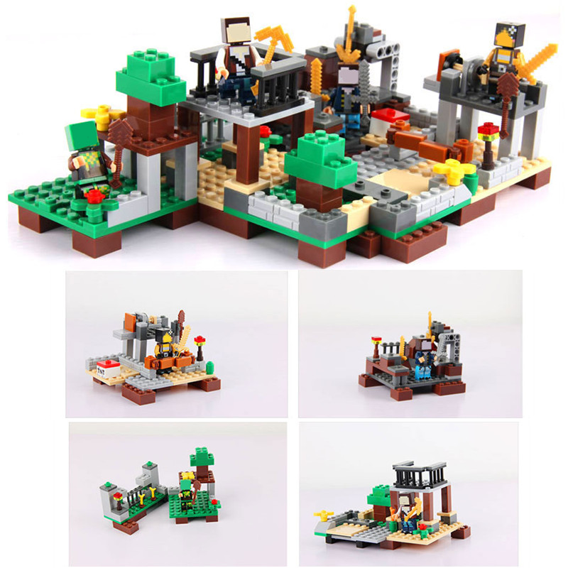 261pcs 4 in 1 My World Steve Alex Zombie Pigman Farm Minecrafted Mini Building Blocks Figures Bricks Toy for Boys Gift Children 8 in 1 military ship building blocks toys for boys