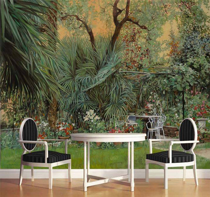 3d room wallpaper custom mural non-woven wallpaper Europe rainforest jungle plants painting HD photo mural wallpaper for wall 3D hot sale retro floral pattern denim neck tie for men