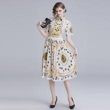 цены на ARiby 2019 Summer New Fashion Women's Dress Vintage Print Lapel Print Short Sleeves Empire Waist Skinny Pleated A-Line Dress в интернет-магазинах