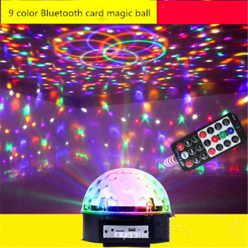 Aimbinet 9 LED ColorBluetooth MP3 Chang Remote Control Disco Dj Stage Lighting  LED RGB Crystal Magic Ball Effect Light DMX512 mini rgb led party disco club dj light crystal magic ball effect stage lighting