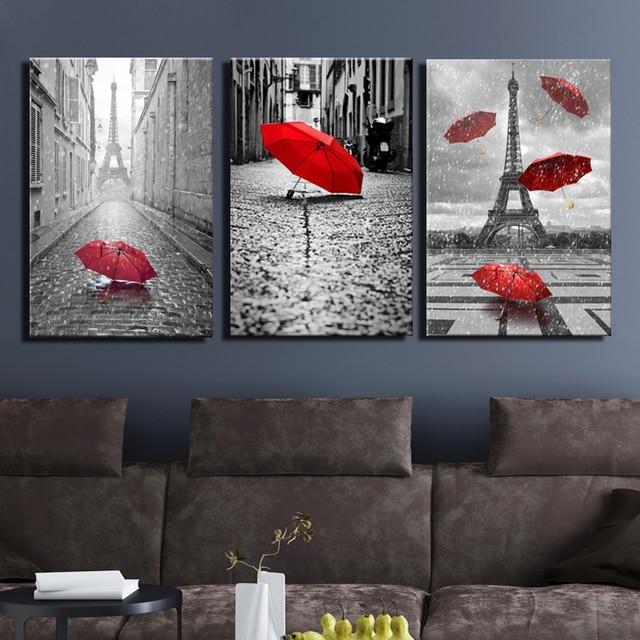 Art Noir et Blanc Tour Eiffel avec Rouge Parapluie sur