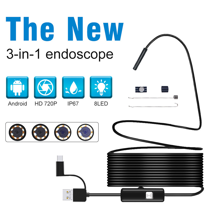 Android Endoscope 5.5mm Lens USB Endoscope Camera Flexible Wire Inspection Camera Phone PC Borescope