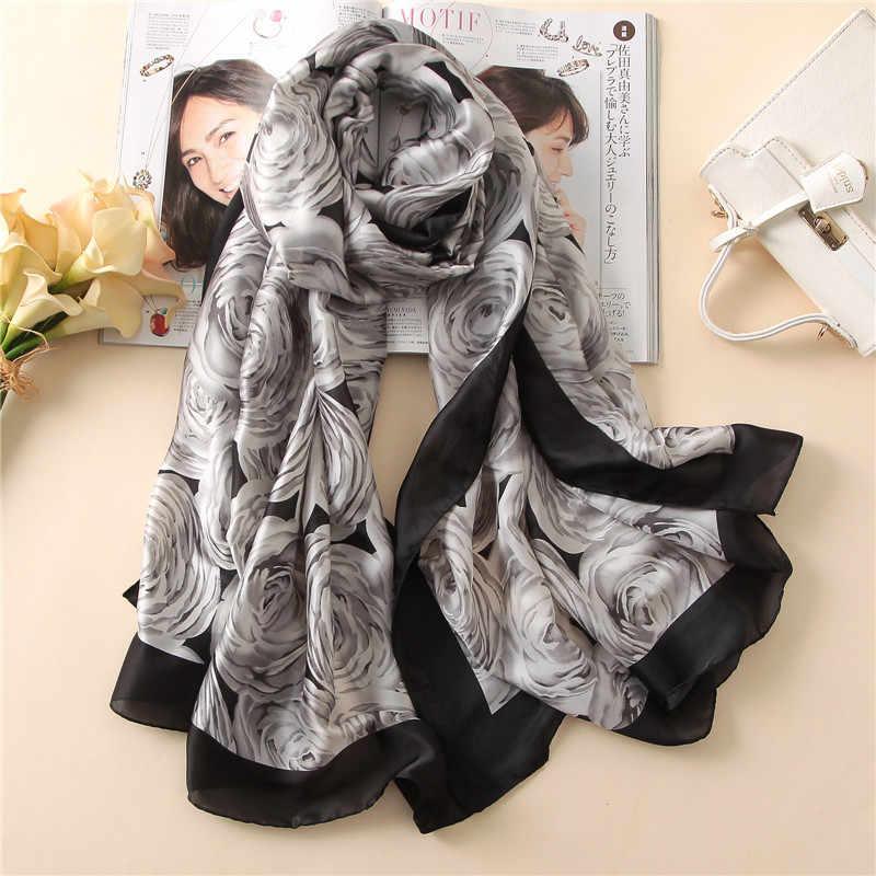 2019 高級ブランド女性シルクスカーフバンダナファッションソフト女性デザイナー女性ショールラップサイズスカーフ 180*90 センチメートル hijabs