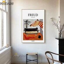 Freud psicoanalista sofá ainda vida, posteres e impressões em tela, pintura de arte, imagem para a parede, sala, corredor, clínica