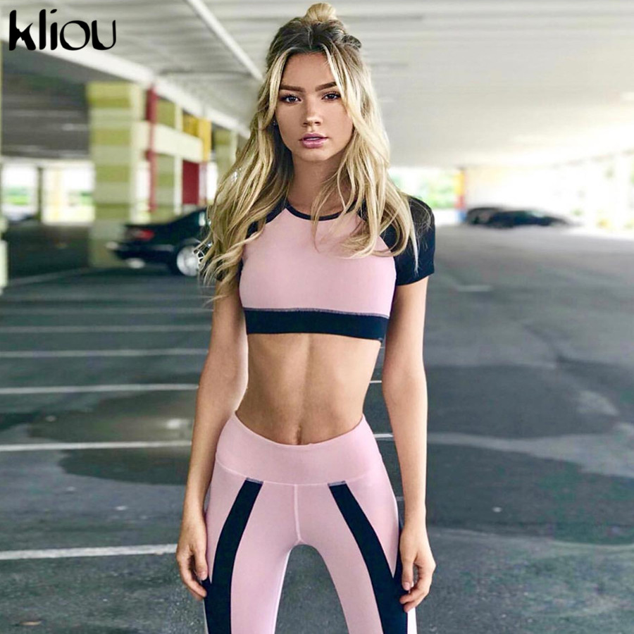 Kliou 2019 Women Fitness Sporting 2 Pieces Sets Short Sleeve Crop Top Striped Patchwork Female Push Up High Waist Leggings Sets