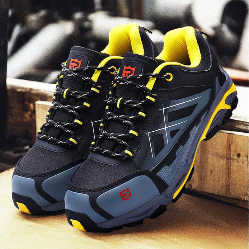 LARNMERN çalışma ve güvenlik botları çelik burun ayakkabı nefes bahar yaz kauçuk kaymaz anti-statik çalışma yansıtıcı gece