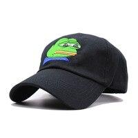 Sad Kermit Tea Cap Frog Cattoon Pattern Embroidery Sun Shade Snapback Hip Hop Baseball Cap Pepe