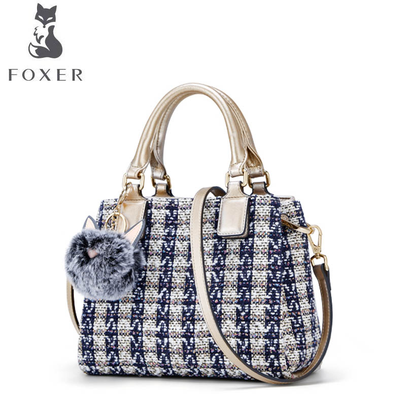 FOXER women Leather bag luxury handbags women famous brand Polyester with cowhide material fashion women leather shoulder Bag foxer 2018 new women leather bag retro fashion luxury handbag women famous brand leather material women leather crossbody bag