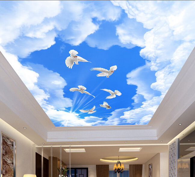 Sky ceiling wallpaper papier peint version bambou 224 for Ceiling mural wallpaper