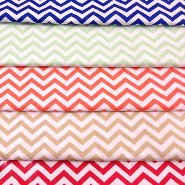 100 Cotton Twill Cloth Shire Blue Red Light Green Brown Orange Zigzag Fabrics For Diy Patchwork Homework Handwork Quilting