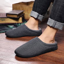 TKN Winter Men Casual Home Slippers Sneakers Striped Soft Floor Man Indoor Flats