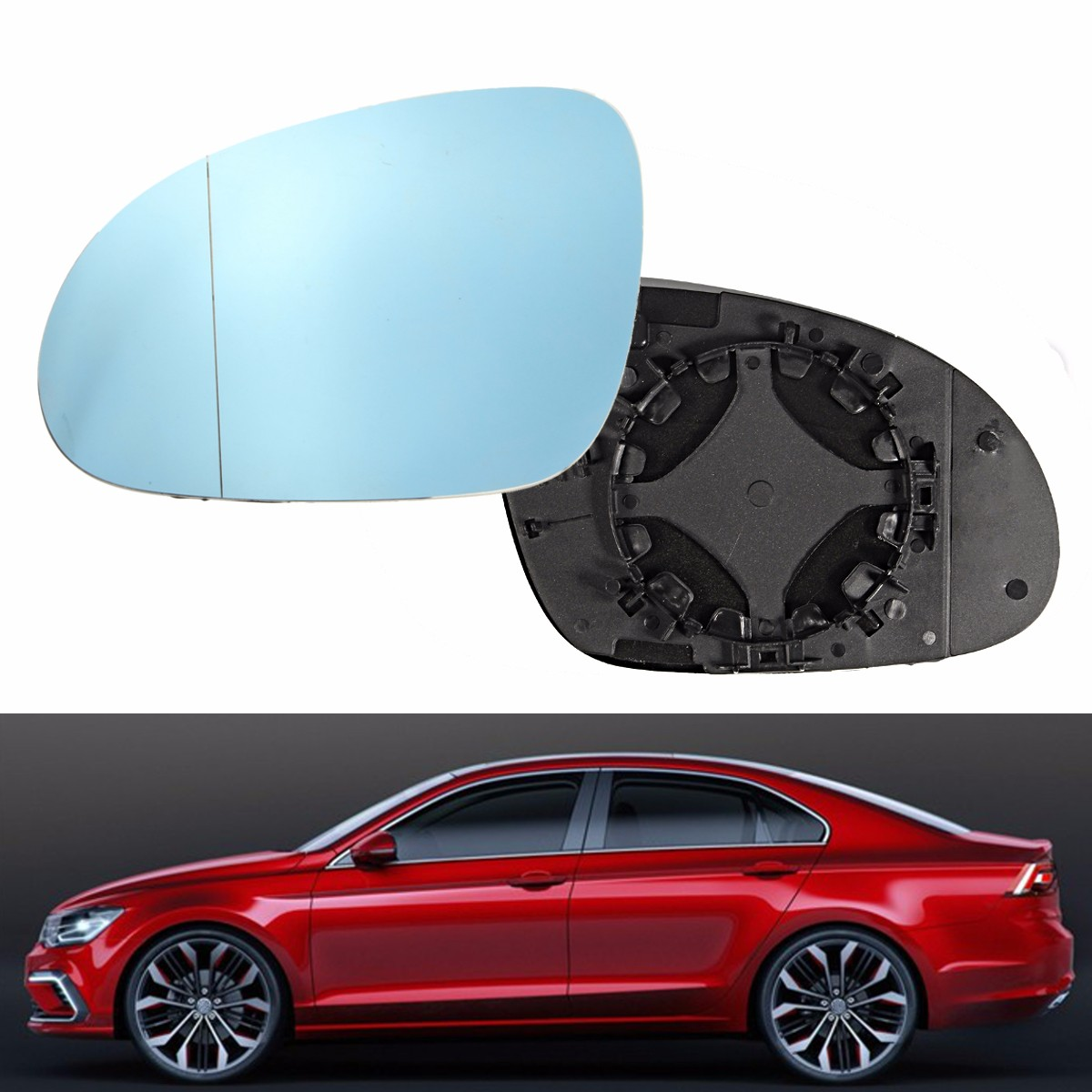 VOLVO S60 V70 S80 1999-2002 WING MIRROR GLASS BLUE+PLATE ASPHERIC RIGHT OR LEFT