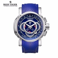 Men Watches Reef Tiger Top Brand Luxury Sport Watch Chronograph Date 316L Steel Rubber Strap Quartz Watch Relogios Masculinos
