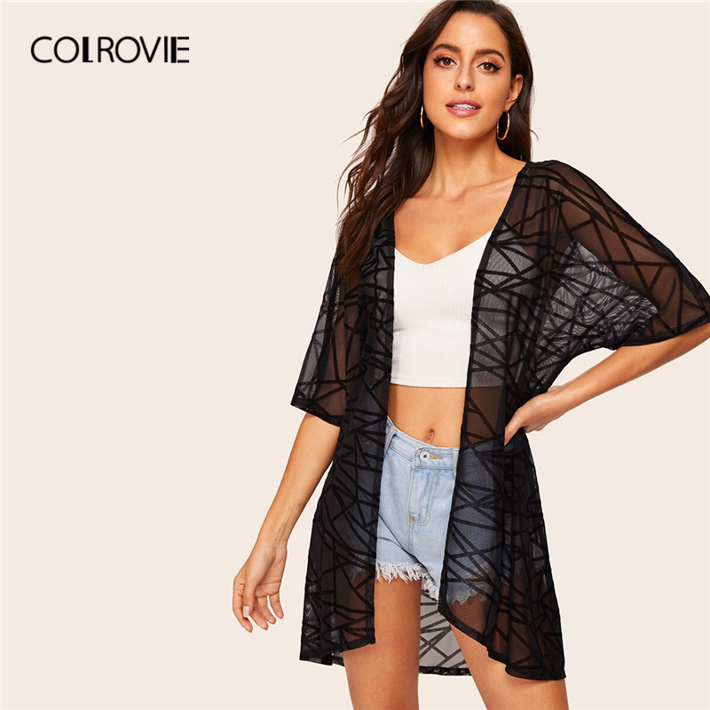 COLROVIE Black Open Front Geo Print Sheer Boho Cardigan Kimono 2019 Summer Transparent Beach Holiday Sexy Kimonos Outwear
