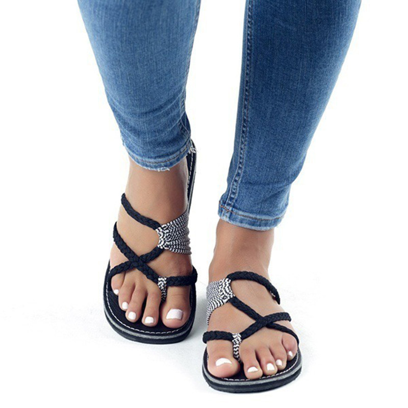 Gladiator sandals Women Summer Lace up Shoes Beach Sandals beautiful Flat Heels Slippers Ladies Beach sandalias zapatos mujer