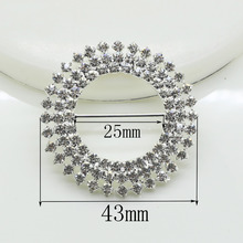 Fashion 10pc 43mm Round stunning clear Rhinestone Buckles Invited to the Wedding Rbbon Rlider,DIY decoration shiny Belts buckle(China)