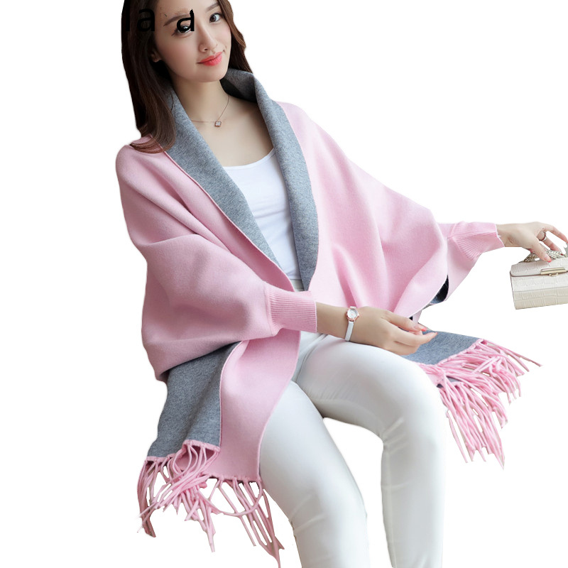 2017 New Spring Autumn Women Fashion Tassels Sweater Coat Shawl Cardigan Cloak Knitting Coat Winter Womens Coat 10 Color L397 ...