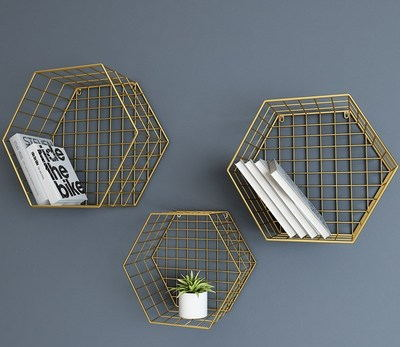 Nordic style wall grid shelf home hexagonal shelf metal wall decor - Home Decor