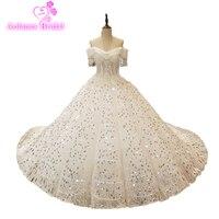 Vestido De Noiva Glänzende Spitze Design Hochzeitskleid Pailletten Spitze Hochzeitskleid Nach Maß Fabrik Großhandel Preis Brautkleid