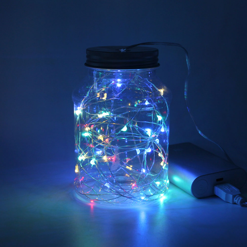 New Year USB 10M 33ft 100LEDs Silver Wire Fairy Garland LED String lights For Christmas Tree Valentines Home Indoor Decoration