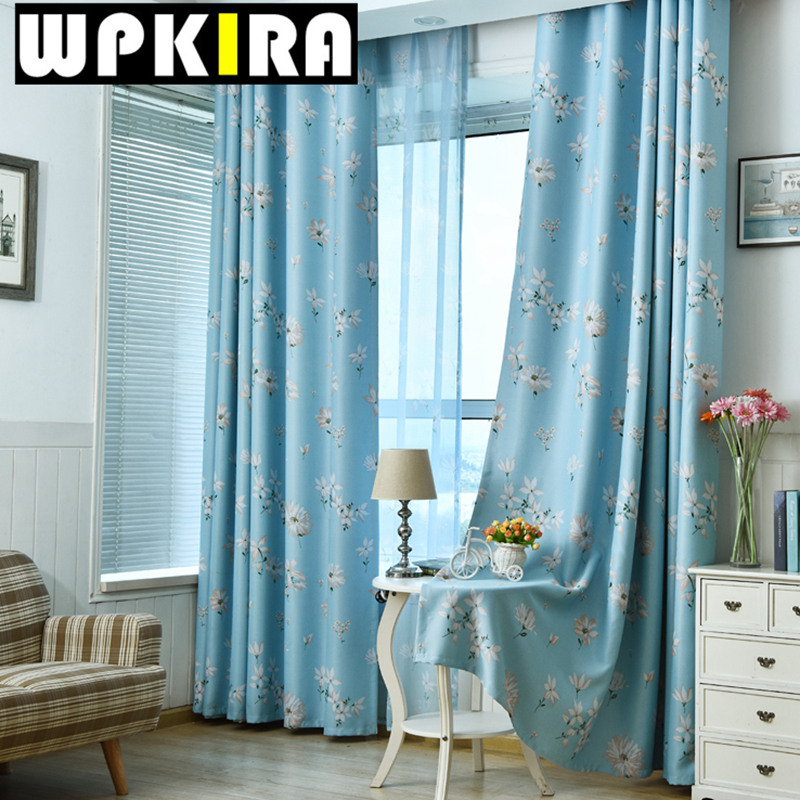 Blue Floral Print Curtain Window Shade Patterns Decoration Pour Salon  Modern Living Room Curtains Sheer Window  Blue Floral Curtains