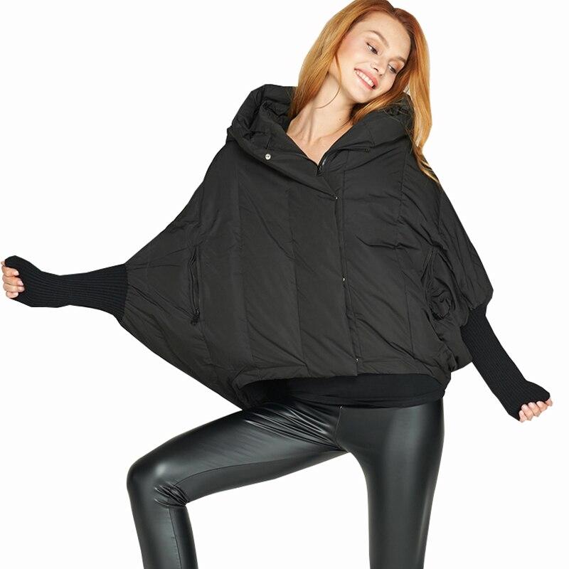 Пиджак с рукавами «летучая мышь», стильная короткая куртка-пуховик 2018, Новый Модный женский свободный пуловер с капюшоном, пуховое пальто, ж...