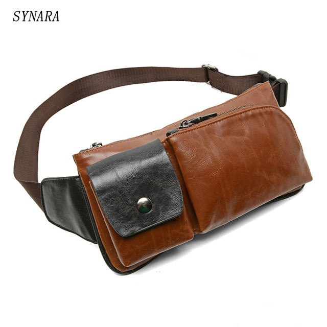 New Fashion Style Crazy Horse PU Leather Men Chest Pack Casual Small Bag CrossBodyShoulder Bag Leisure TravelMini Bag