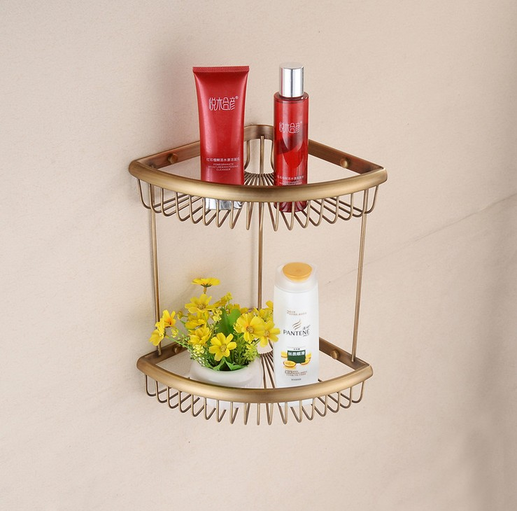 Triangle Antique Brass Bathroom Shelf Dual Layer Shelves Wall Mounted Bathroom Accessories Basket  9908 сорочка avanua safire черный s m
