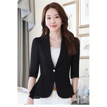 Plus Size Blue Blazer   Blazer Women Korean Short Paragraph Spring And Autumn Office White Black Light Blue Slim 3XL Plus Size Fashion Suit Blazer JD325