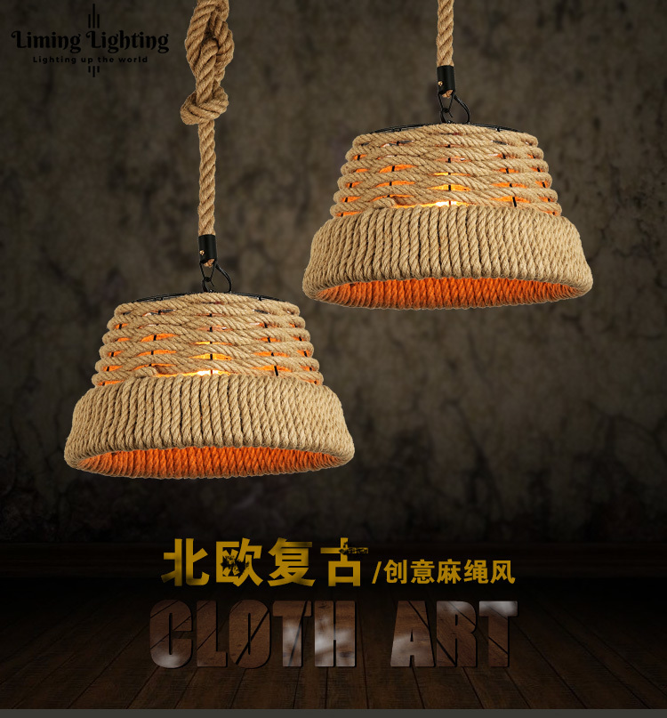 American country restaurant cafe retro rope chandelier chandelier bar head single personality 8 head chandelier wood wooden bottle bar restaurant european style of the ancient american country
