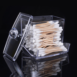 Image 1 - Feiqiong Square Q tips Box Cotton Swabs Holder Cotton Storage Transparent Organizer Box Cosmetic Makeup Case 2019