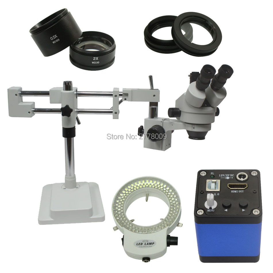3 5X 90X Double Arm Boom Stand Trinocular Stereo Zoom Microscope With 1080P HDMI Camera 144