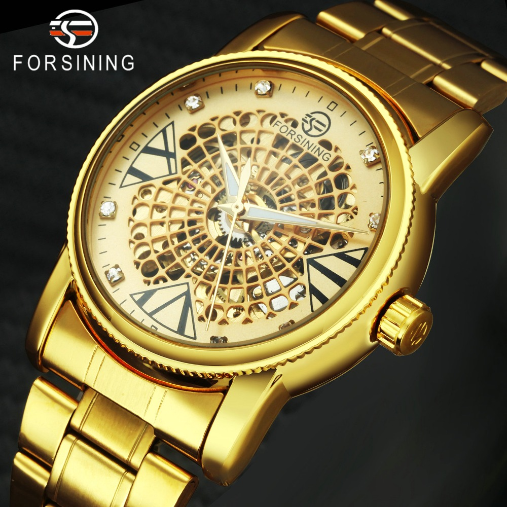 FORSINING Auto Mechanical Men Watches Top Brand Luxury Stainless Steel Strap Crystal Decoration Skeleton Dial Fashion Watch 1