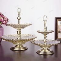1 Set Europe High quality golden Double layer Crystal glass fruit tray Candy tray Dessert plate snacks Candy dish Tray