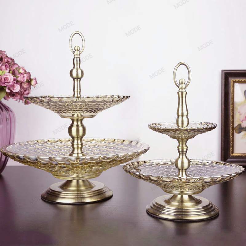 1 Set Europe High quality golden Double layer Crystal glass fruit tray Candy Dessert plate  snacks dish Tray