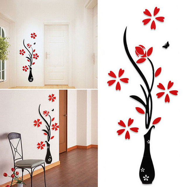 New Style 3D Wall Sticker Acrylic Vase Tree Decal Wall Decorations Living  Room Beautiful Wall Sticker